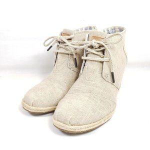 Toms Desert Wedge Heel Booties Women's Size 10 Tan